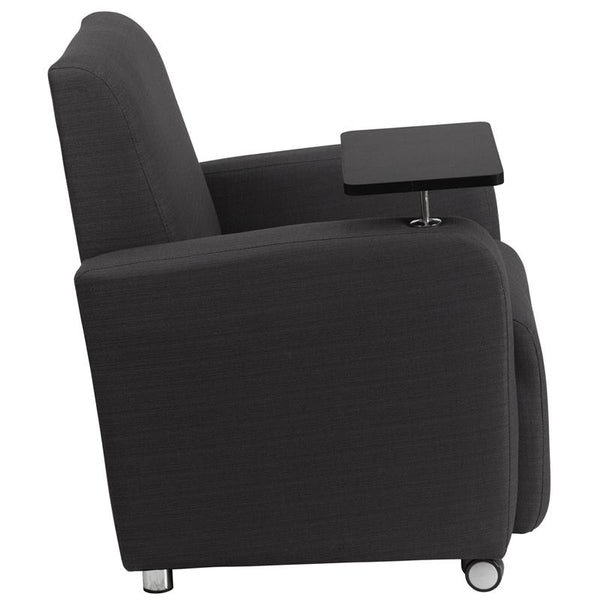 Flash Furniture Gray Fabric Guest Chair with Tablet Arm and Front Wheel Casters - BT-8217-GY-CS-GG
