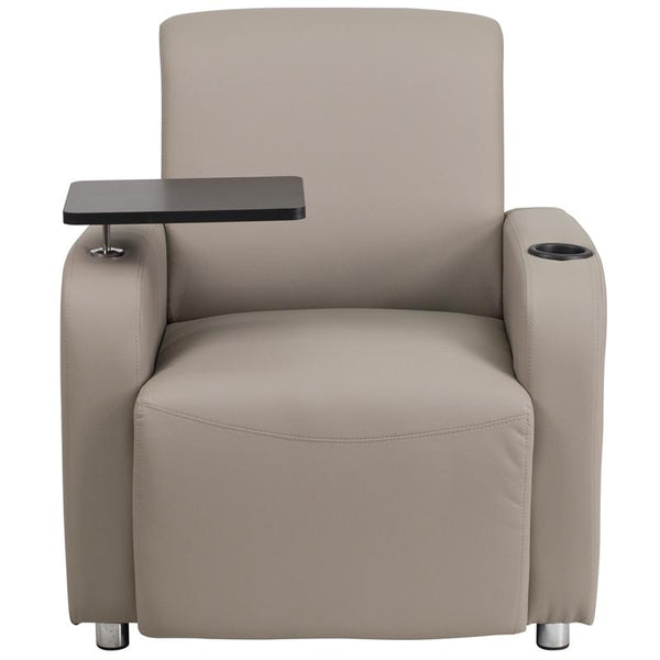 Flash Furniture Gray Leather Guest Chair with Tablet Arm, Chrome Legs and Cup Holder - BT-8217-GV-GG
