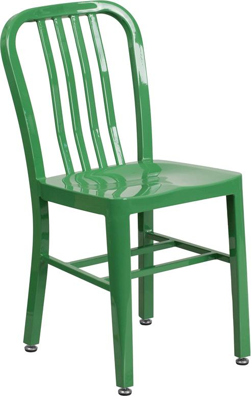 Flash Furniture Green Metal Indoor-Outdoor Chair - CH-61200-18-GN-GG