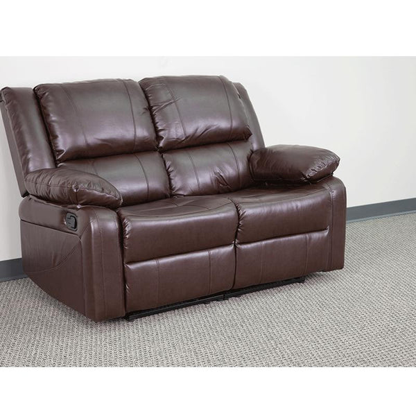 Flash Furniture Harmony Series Brown Leather Loveseat with Two Built-In Recliners - BT-70597-LS-BN-GG