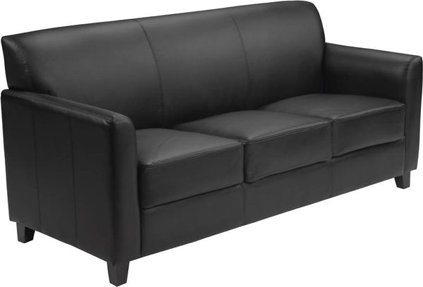 Flash Furniture HERCULES Diplomat Series Black Leather Sofa - BT-827-3-BK-GG