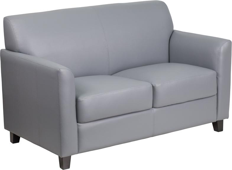 Flash Furniture HERCULES Diplomat Series Gray Leather Loveseat - BT-827-2-GY-GG