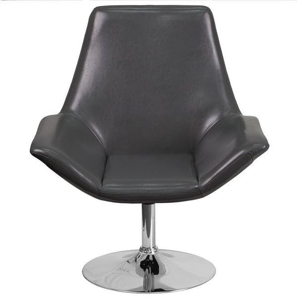 Flash Furniture HERCULES Sabrina Series Gray Leather Side Reception Chair - CH-102242-GY-GG