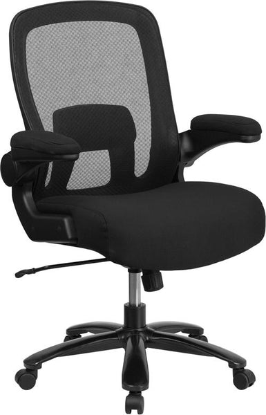 Flash Furniture HERCULES Series Big & Tall 500 lb. Rated Black Mesh Executive Swivel Chair with Fabric Seat and Adjustable Lumbar - BT-20180-GG
