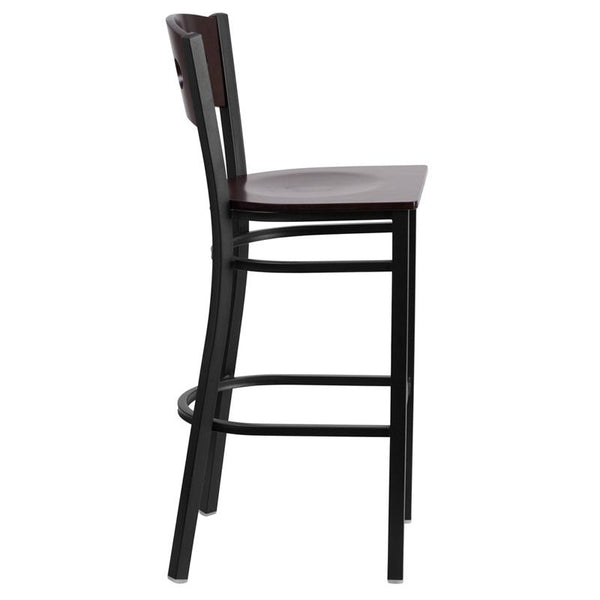 Flash Furniture HERCULES Series Black 3 Circle Back Metal Restaurant Barstool - Walnut Wood Back & Seat - XU-DG-60516-WAL-BAR-MTL-GG