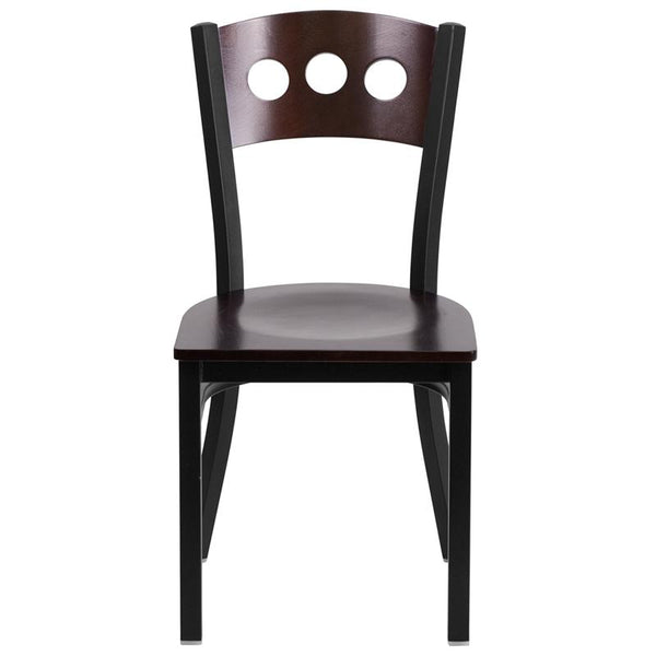Flash Furniture HERCULES Series Black 3 Circle Back Metal Restaurant Chair - Walnut Wood Back & Seat - XU-DG-6Y2B-WAL-MTL-GG