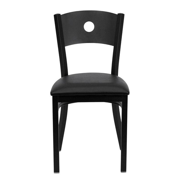 Flash Furniture HERCULES Series Black Circle Back Metal Restaurant Chair - Black Vinyl Seat - XU-DG-60119-CIR-BLKV-GG