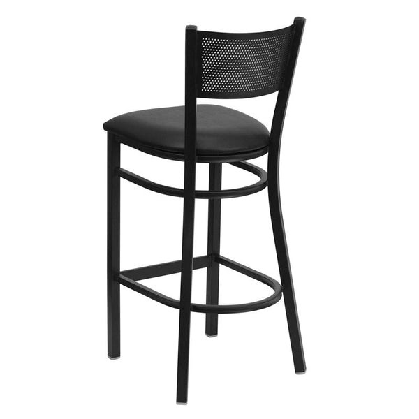 Flash Furniture HERCULES Series Black Grid Back Metal Restaurant Barstool - Black Vinyl Seat - XU-DG-60116-GRD-BAR-BLKV-GG