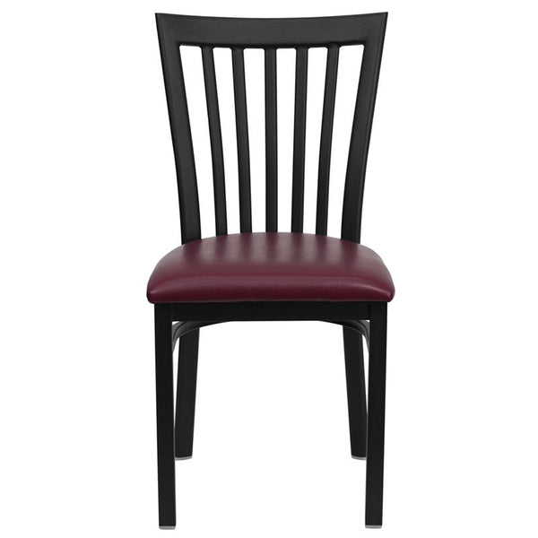 Flash Furniture HERCULES Series Black School House Back Metal Restaurant Chair - Burgundy Vinyl Seat - XU-DG6Q4BSCH-BURV-GG