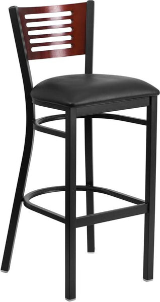 Flash Furniture HERCULES Series Black Slat Back Metal Restaurant Barstool - Mahogany Wood Back, Black Vinyl Seat - XU-DG-6H1B-MAH-BAR-BLKV-GG