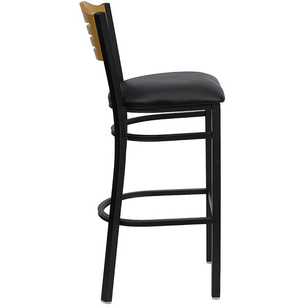 Flash Furniture HERCULES Series Black Slat Back Metal Restaurant Barstool - Natural Wood Back, Black Vinyl Seat - XU-DG-6H3B-SLAT-BAR-BLKV-GG