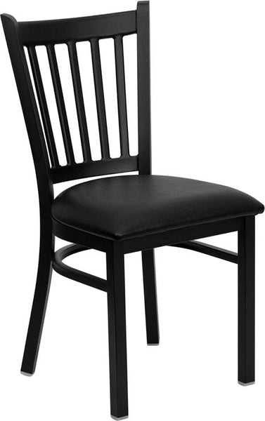 Flash Furniture HERCULES Series Black Vertical Back Metal Restaurant Chair - Black Vinyl Seat - XU-DG-6Q2B-VRT-BLKV-GG