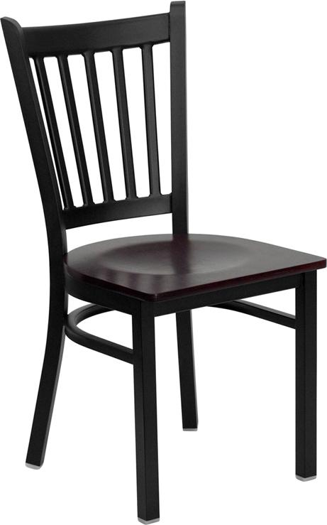 Flash Furniture HERCULES Series Black Vertical Back Metal Restaurant Chair - Mahogany Wood Seat - XU-DG-6Q2B-VRT-MAHW-GG