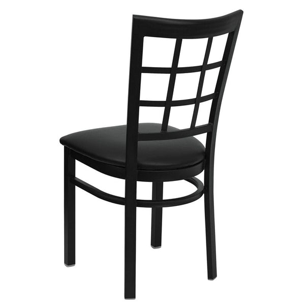 Flash Furniture HERCULES Series Black Window Back Metal Restaurant Chair - Black Vinyl Seat - XU-DG6Q3BWIN-BLKV-GG