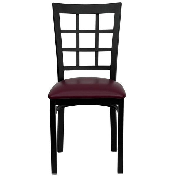 Flash Furniture HERCULES Series Black Window Back Metal Restaurant Chair - Burgundy Vinyl Seat - XU-DG6Q3BWIN-BURV-GG