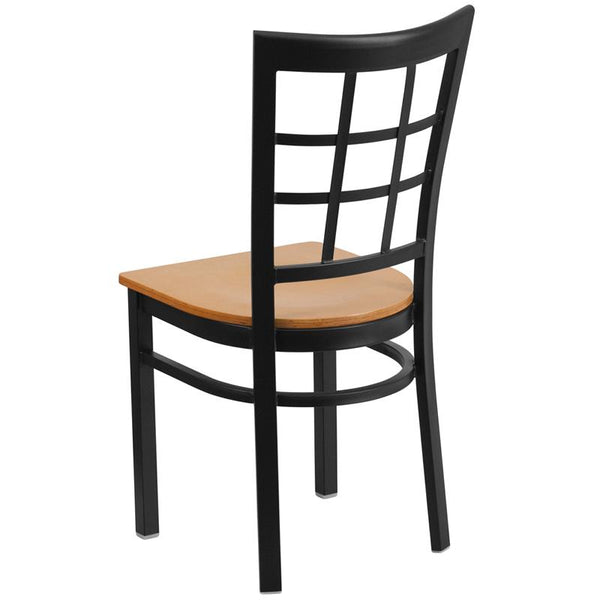 Flash Furniture HERCULES Series Black Window Back Metal Restaurant Chair - Natural Wood Seat - XU-DG6Q3BWIN-NATW-GG
