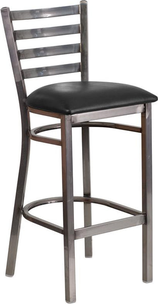 Flash Furniture HERCULES Series Clear Coated Ladder Back Metal Restaurant Barstool - Black Vinyl Seat - XU-DG697BLAD-CLR-BAR-BLKV-GG