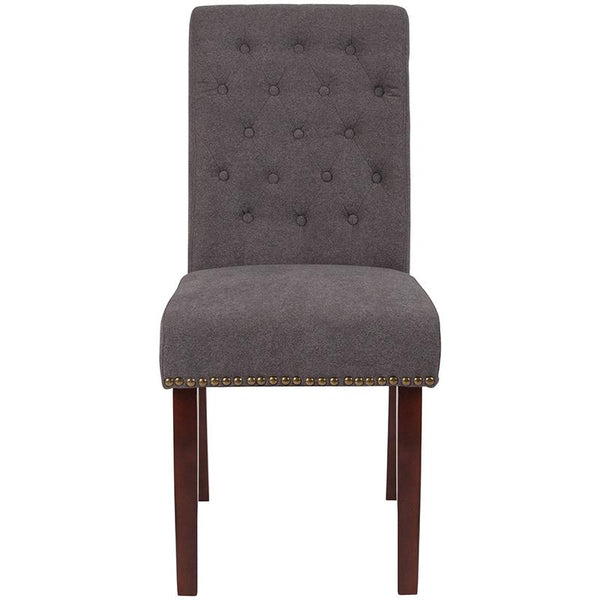 Flash Furniture HERCULES Series Dark Gray Fabric Parsons Chair with Rolled Back, Accent Nail Trim and Walnut Finish - BT-P-DKGY-FAB-GG