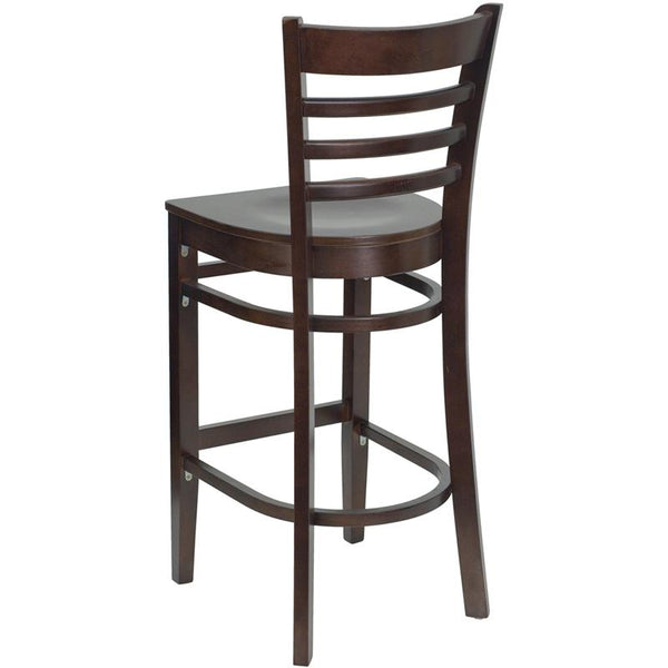 Flash Furniture HERCULES Series Ladder Back Walnut Wood Restaurant Barstool - XU-DGW0005BARLAD-WAL-GG