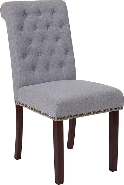 Flash Furniture HERCULES Series Light Gray Fabric Parsons Chair with Rolled Back, Accent Nail Trim and Walnut Finish - BT-P-LTGY-FAB-GG