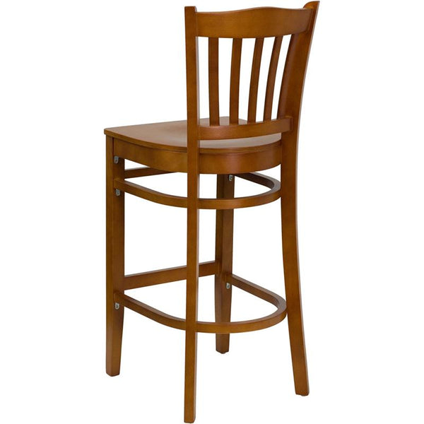 Flash Furniture HERCULES Series Vertical Slat Back Cherry Wood Restaurant Barstool - XU-DGW0008BARVRT-CHY-GG