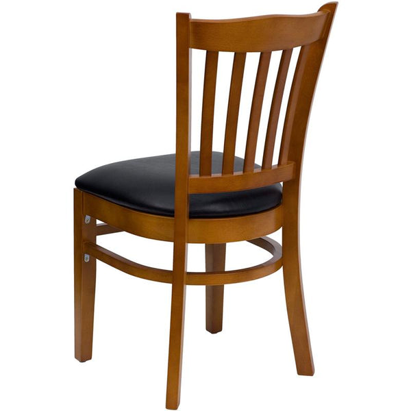 Flash Furniture HERCULES Series Vertical Slat Back Cherry Wood Restaurant Chair - Black Vinyl Seat - XU-DGW0008VRT-CHY-BLKV-GG
