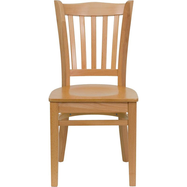 Flash Furniture HERCULES Series Vertical Slat Back Natural Wood Restaurant Chair - XU-DGW0008VRT-NAT-GG