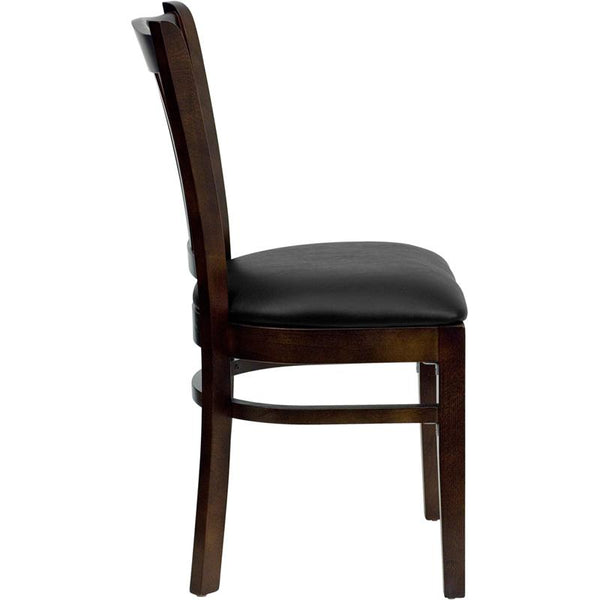 Flash Furniture HERCULES Series Vertical Slat Back Walnut Wood Restaurant Chair - Black Vinyl Seat - XU-DGW0008VRT-WAL-BLKV-GG