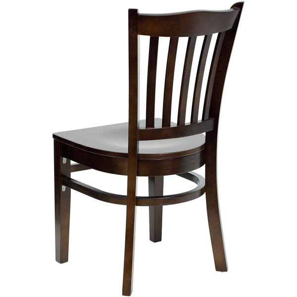 Flash Furniture HERCULES Series Vertical Slat Back Walnut Wood Restaurant Chair - XU-DGW0008VRT-WAL-GG