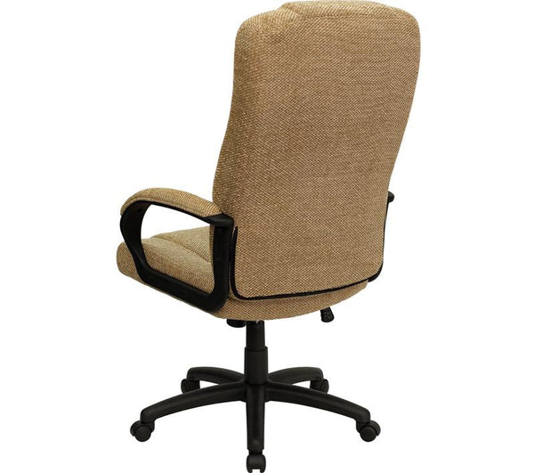 Flash Furniture High Back Beige Fabric Executive Swivel Chair with Arms - BT-9022-BGE-GG