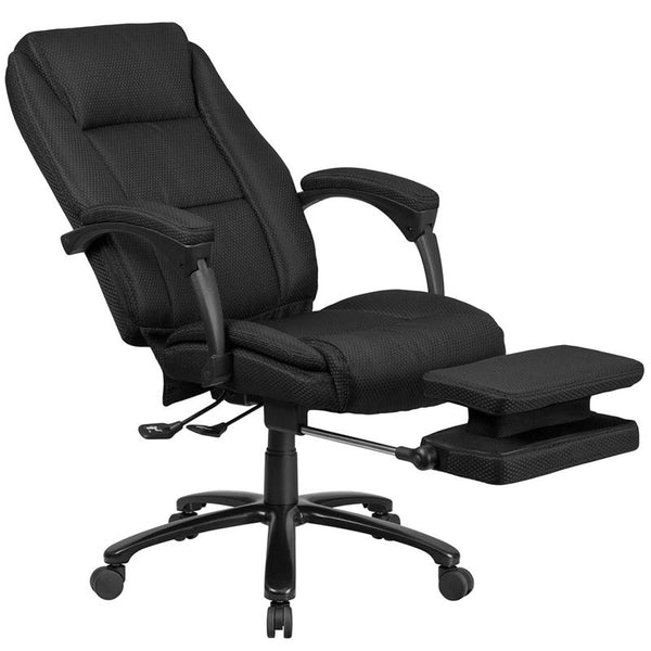 Flash Furniture High Back Black Fabric Executive Reclining Swivel Office Chair with Comfort Coil Seat Springs and Padded Arms - BT-90288H-BK-GG