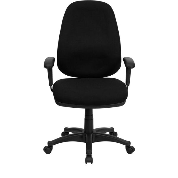 Flash Furniture High Back Black Fabric Executive Swivel Chair with Adjustable Arms - BT-661-BK-GG