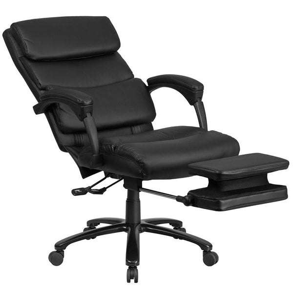 Flash Furniture High Back Black Leather Executive Reclining Swivel Chair with Adjustable Headrest, Comfort Coil Seat Springs and Arms - BT-90519H-GG