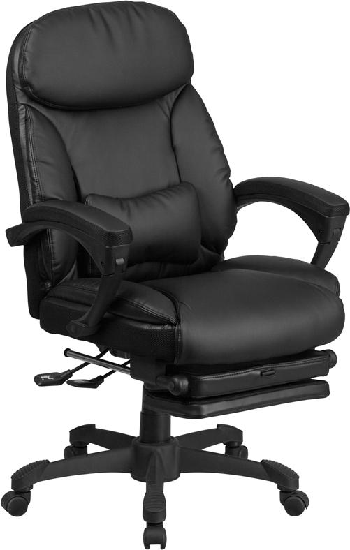 Flash Furniture High Back Black Leather Executive Reclining Swivel Chair with Comfort Coil Seat Springs and Arms - BT-90506H-GG