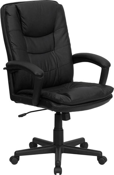 Flash Furniture High Back Black Leather Executive Swivel Chair with Arms - BT-2921-BK-GG