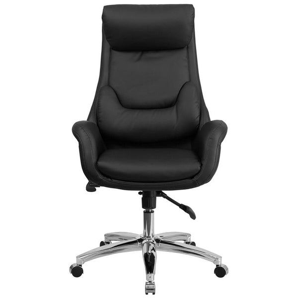 Flash Furniture High Back Black Leather Executive Swivel Chair with Lumbar Pillow and Arms - BT-90027OH-GG
