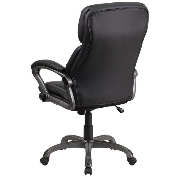 Flash Furniture High Back Black Leather Executive Swivel Chair with Lumbar Support Knob with Arms - BT-90272H-GG