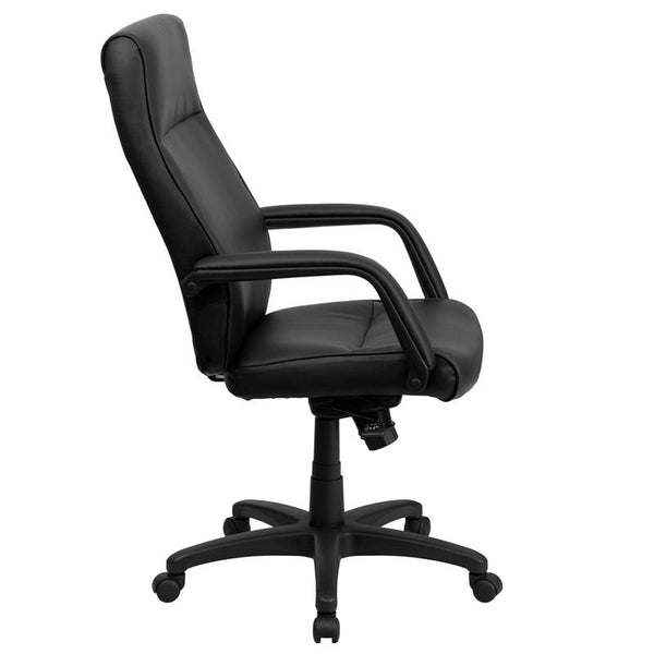 Flash Furniture High Back Black Leather Executive Swivel Chair with Memory Foam Padding and Arms - BT-90033H-BK-GG