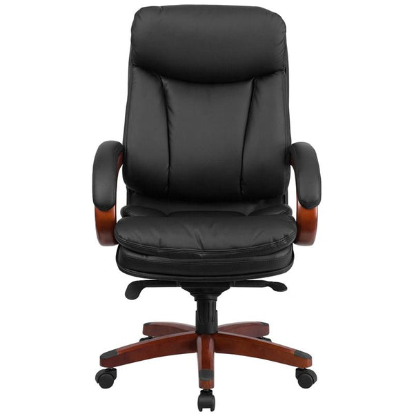 Flash Furniture High Back Black Leather Executive Swivel Chair with Synchro-Tilt Mechanism, Mahogany Wood Base and Arms - BT-90171H-S-GG