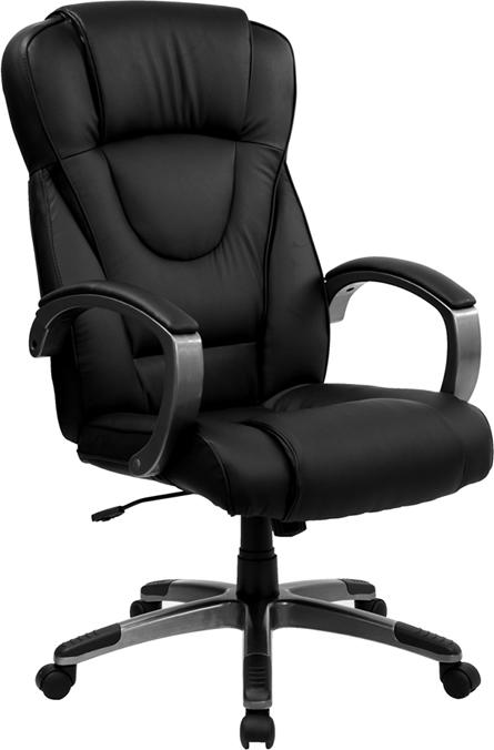 Flash Furniture High Back Black Leather Executive Swivel Chair with Titanium Nylon Base and Loop Arms - BT-9069-BK-GG