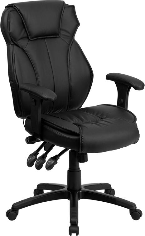 Flash Furniture High Back Black Leather Multifunction Executive Swivel Chair with Lumbar Support Knob with Arms - BT-9835H-GG