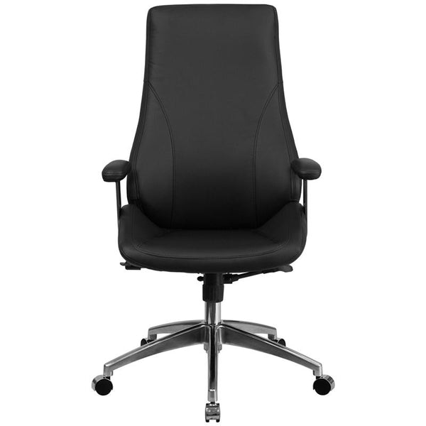 Flash Furniture High Back Black Leather Smooth Upholstered Executive Swivel Chair with Arms - BT-90068H-GG