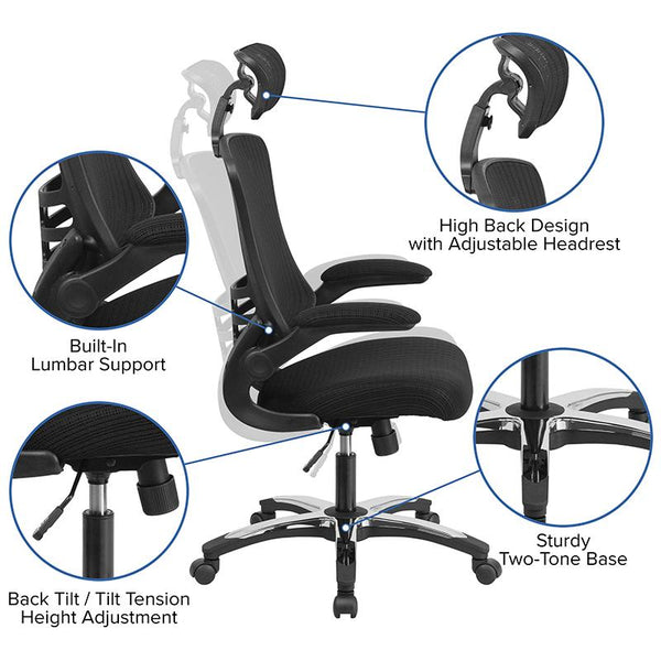 Flash Furniture High Back Black Mesh Executive Swivel Chair with Chrome Plated Nylon Base and Flip-Up Arms - BL-X-5H-GG