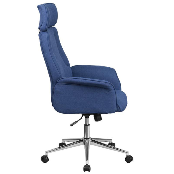 Flash Furniture High Back Blue Fabric Executive Swivel Chair with Chrome Base and Fully Upholstered Arms - CH-CX0944H-BL-GG