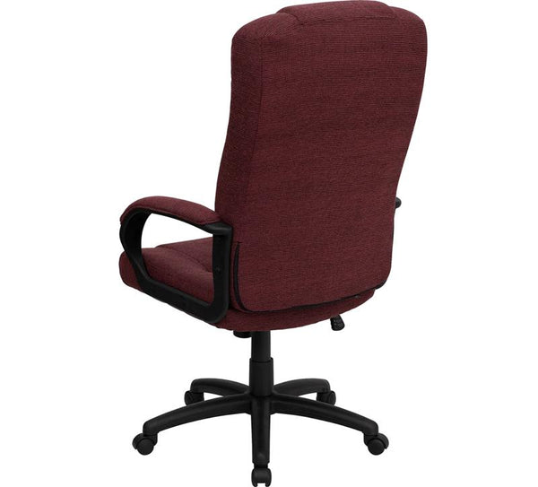 Flash Furniture High Back Burgundy Fabric Executive Swivel Chair with Arms - BT-9022-BY-GG