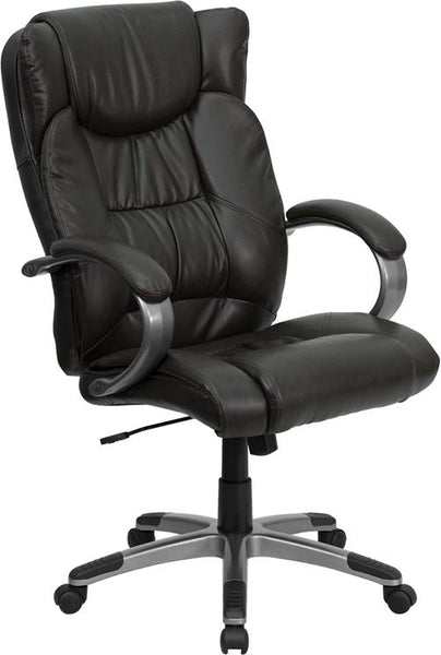 Flash Furniture High Back Espresso Brown Leather Executive Swivel Chair with Arms - BT-9088-BRN-GG