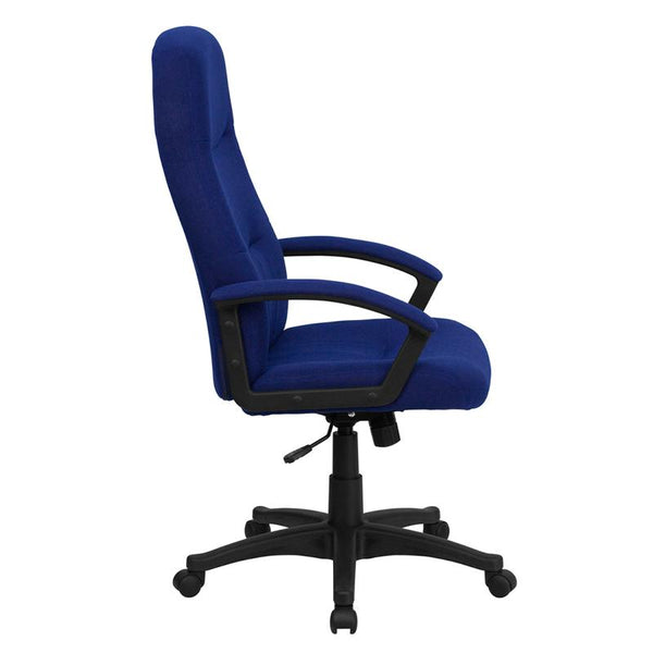 Flash Furniture High Back Navy Blue Fabric Executive Swivel Chair with Two Line Horizontal Stitch Back and Arms - BT-134A-NVY-GG