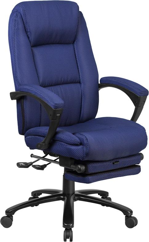 Flash Furniture High Back Navy Fabric Executive Reclining Swivel Office Chair with Comfort Coil Seat Springs and Padded Arms - BT-90288H-NY-GG