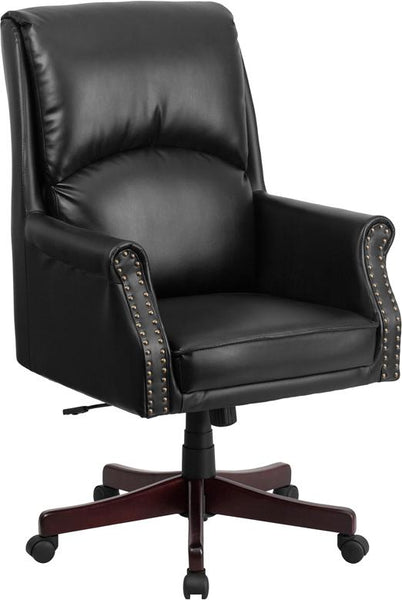 Flash Furniture High Back Pillow Back Black Leather Executive Swivel Chair with Arms - BT-9025H-2-GG