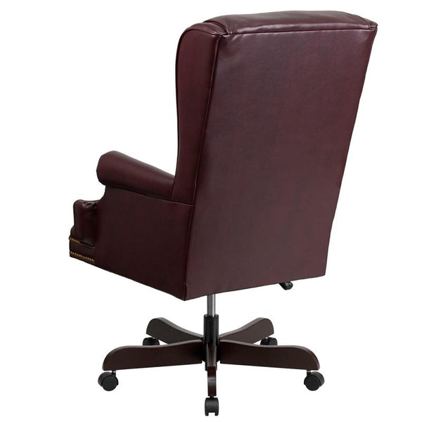 Flash Furniture High Back Traditional Tufted Burgundy Leather Executive Swivel Chair with Oversized Headrest and Nail Trim Arms - CI-J600-BY-GG